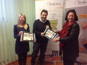 H3 Alsatextiles avec son dirigeant Gianni Pavan et Elina Pinto (à gauche). Catherine Aubertin Textile Alsace (à droite)