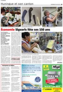 Article de presse concernant les 150 ans d'existence de la société SIGVARIS