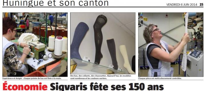 Article de presse concernant les 150 ans de Sigvaris à Saint-Louis