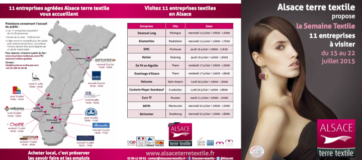 """Tourisme Industriel : La """"Semaine Alsace terre textile II"""" du 15 au 22 juillet 2015"""
