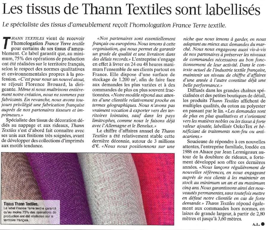 Thann Textiles - Tissus Labellisés France terre textile - Journal du Textile 4.04.2017
