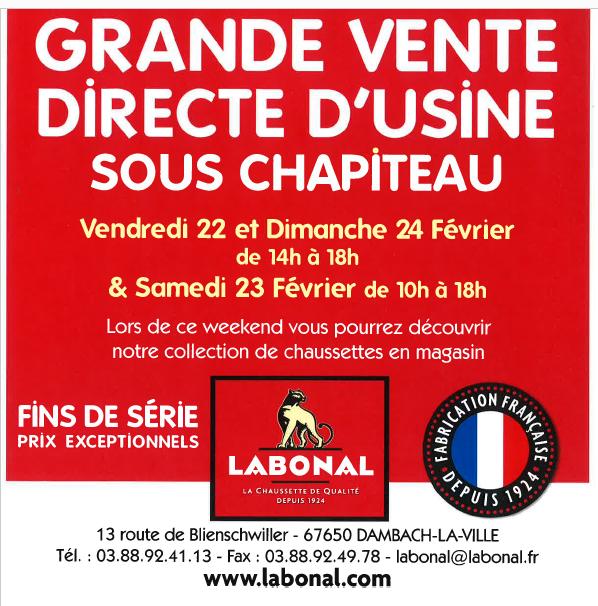 Labonal vente directe usine 22 et 23 février 2019