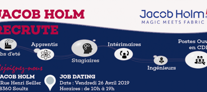 JOB DATING chez JACOB HOLM le vendredi 26 Avril 2019