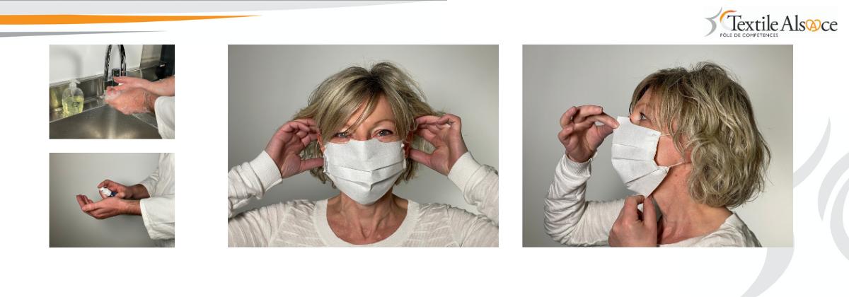 Notice pour le port du masque barrière Textile Alsace